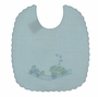 NEW Willbeth Blue Linen Bib with Embroidered Train