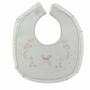 NEW Willbeth White Bib with Lace Trim and Pink Shadow Embroidery