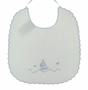 "<img src=""http://site.grammies-attic.com/images/blue-sold-1.gif""> NEW Willbeth White Scalloped Bib with Embroidered Boat"