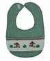 NEW Rosalina Green Smocked Bib with Snowmen