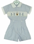 NEW Blue Striped Button on Shorts Set with Bunny Embroidery