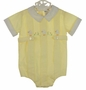 "<img src=""http://site.grammies-attic.com/images/blue-sold-1.gif""> RETRO 1960s Nannette Pale Yellow Romper with Appliqued Chicks"