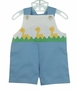 "<img src=""http://site.grammies-attic.com/images/blue-sold-1.gif""> Retro 1970s Unworn Blue Sunsuit with Appliqued Yellow Ducks"