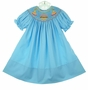 NEW Rosalina Turquoise Bishop Smocked Birthday Dress with Embroidered Birthday Cake