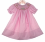 NEW Rosalina Bright Pink Bishop Smocked Birthday Dress with Embroidered Birthday Cake