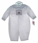 NEW Petit Ami White Romper with Santa Smocking and Matching Hat