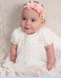 NEW Sarah Louise Ivory Smocked Baby Dress with Pintucks and Peach Rosebuds (CC0783) and NEW Pale Ivory Delicate Knit Victorian Style Heirloom Blanket (LIC0912)