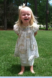 NEW Ivory Bishop Smocked Dress with Pastel Bunny Toile Print (CC1233)