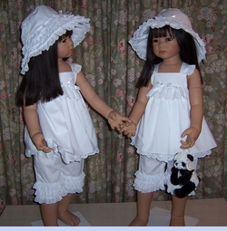 NEW White Ruffled Pantaloon Set with Eyelet Trim (CC08139) and NEW White Sun Bonnet with Tiers of Eyelet Ruffles (BB08111)