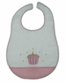 NEW Rosalina White Birthday Bib with Appliqued Cupcake and Pink Checked Trim