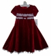 NEW Rare Editions Red Velvet Dress with White Lace Trim