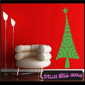 Christmas Tree Swirl Holiday Vinyl Wall Decal Mural Quotes Words CP030 SWD
