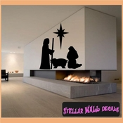 Silent Night Manger Christmas Holiday Vinyl Wall Decal Mural Quotes Words CP108 SWD