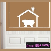 Manger of Christ Christmas Holiday Vinyl Wall Decal Mural Quotes Words CP109 SWD