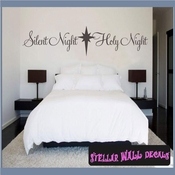 Silent Night Holy Night Christmas Holiday Vinyl Wall Decal Mural Quotes Words HD029 SWD