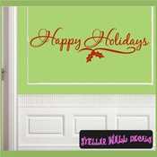 Happy Holidays Christmas Holiday Vinyl Wall Decal Mural Quotes Words HD035 SWD