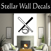 Baseball Bats and gloves NS002 Vinyl Decal Wall Art Sticker Mural SWD