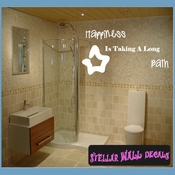Happiness is taking a long bath Wall Quote Mural Decal SWD