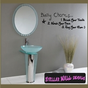 Daily chores� 1. brush your teeth 2. wash your face 3. hug your mom Wall Quote Mural Decal