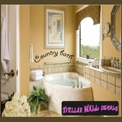 Country bath Wall Quote Mural Decal