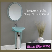 Bathroom Rules: wash, Brush, Flush Wall Quote Mural Decal SWD