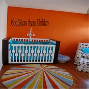 God Bless these Childen Wall Quote Mural Decal SWD