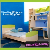 It is not how BIG you are...it is how BIG you play. Wall Quote Mural Decal SWD