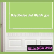 Say Please and Thank you Wall Quote Mural Decal