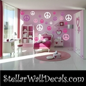 52 Peace Signs Vinyl Wall Decal Stickers Kit SWD