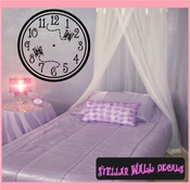 Wall clocks with butterflies Clock Faces Face Vinyl Wall Decal Mural Quotes Words CF006 SWD