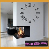 Wall clocks roman numerals Clock Faces Face Vinyl Wall Decal Mural Quotes Words CF010 SWD