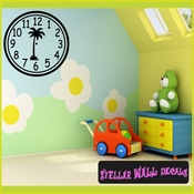Wall clocks with palm tree tropical scene  simple numbers Clock Faces Face Vinyl Wall Decal Mural Quotes Words CF013 SWD