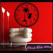Wall clocks with palm trees tropical scene with monkey Clock Faces Face Vinyl Wall Decal Mural Quotes Words CF014 SWD