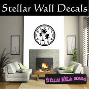 Wall clocks with monkey and palm trees monkeys tropical scene Clock Faces Face Vinyl Wall Decal Mural Quotes Words CF015 SWD