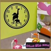 Wall clocks with giraffe turtle elephant jungle safari zoo animals yazi Clock Faces Face Vinyl Wall Decal Mural Quotes Words CF016 SWD