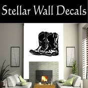 Western Cowboy Boots NS004 Vinyl Decal Wall Art Sticker Mural SWD