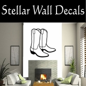 Western Cowboy Boots NS006 Vinyl Decal Wall Art Sticker Mural SWD