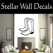 Western Cowboy Boots NS007 Vinyl Decal Wall Art Sticker Mural SWD