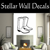 Western Cowboy Boots NS010 Vinyl Decal Wall Art Sticker Mural SWD