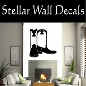Western Cowboy Boots NS012 Vinyl Decal Wall Art Sticker Mural SWD