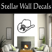 Western Cowboy Hat NS004 Vinyl Decal Wall Art Sticker Mural SWD