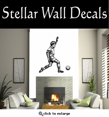 Soccer Futball Running Kicking Kick Score Goal Goalie Players CDS023 Sport Sports Wall or Car Vinyl Decal Sticker Mural