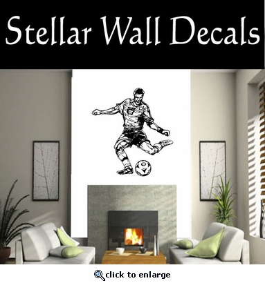Soccer Futball Running Kicking Kick Score Goal Goalie Players CDS079 Sport Sports Wall or Car Vinyl Decal Sticker Mural