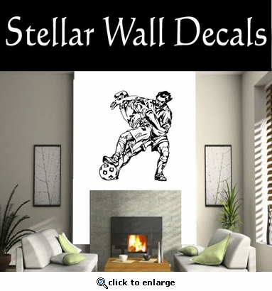 Soccer Futball Running Kicking Kick Score Goal Goalie Players CDS085 Sports Vinyl Wall Decal - Wall Mural - Car Sticker  SWD