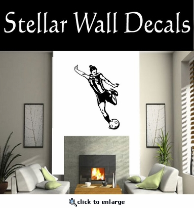 Soccer Futball Running Kicking Kick Score Goal Goalie Players CDS087 Sport Sports Wall or Car Vinyl Decal Sticker Mural