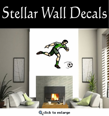 Soccer Futball Running Kicking Kick Score Goal Goalie Players CDSCOLOR113 Sport Sports Wall or Car Vinyl Decal Sticker Mural SWD