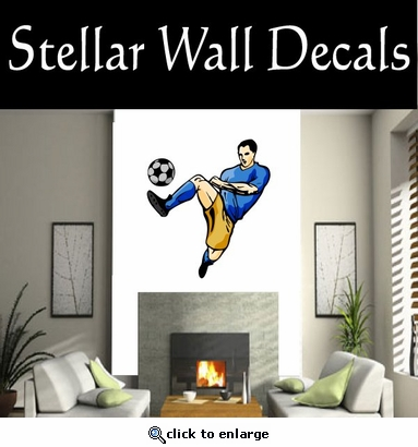 Soccer Futball Running Kicking Kick Score Goal Goalie Players CDSCOLOR120 Sports Vinyl Wall Decal - Wall Mural - Car Sticker  SWD