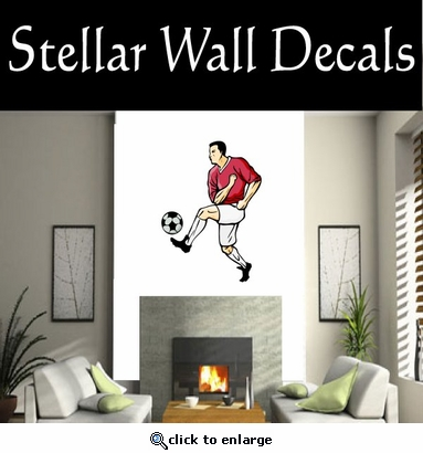 Soccer Futball Running Kicking Kick Score Goal Goalie Players CDSCOLOR127 Sport Sports Wall or Car Vinyl Decal Sticker Mural