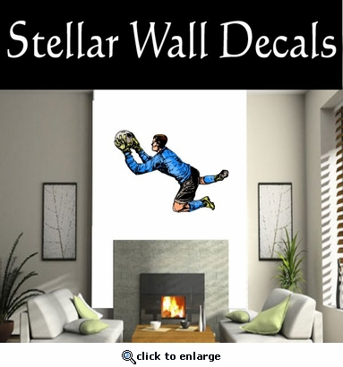 Soccer Futball Running Kicking Kick Score Goal Goalie Players CDSCOLOR141 Sports Vinyl Wall Decal - Wall Mural - Car Sticker  SWD