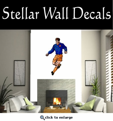 Soccer Futball Running Kicking Kick Score Goal Goalie Players CDSCOLOR155 Sport Sports Wall or Car Vinyl Decal Sticker Mural SWD